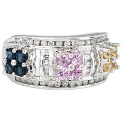 Colored Sapphire Diamond Cluster Flower Band Ring Vintage
