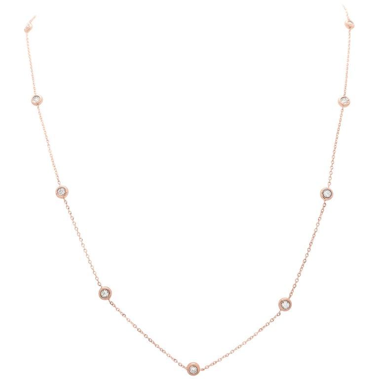 14 Karat Rose Gold Diamond by The Yard Necklace .19 Carat