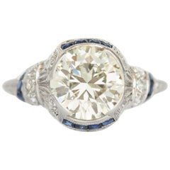 GIA Certified 2.50 Carat Diamond and Sapphire Engagement Ring