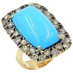 18 Karat Yellow Gold Brown Diamonds and Turquoise Garavelli Ring