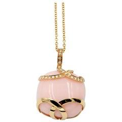 18 Karat Rose Gold Pink Opal and Diamonds Garavelli Ring