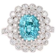7.45 Carat Blue Zircon Diamond White Gold Cocktail Ring