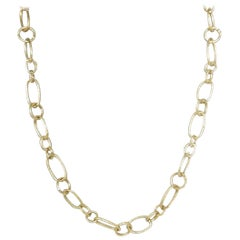 14 Karat Yellow Gold Gresha Signature Bark Finish Link Necklace
