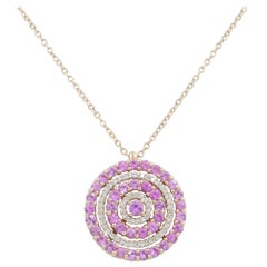 18 Karat Gold White Diamonds and Pink Sapphires Garavelli Pendant with Chain