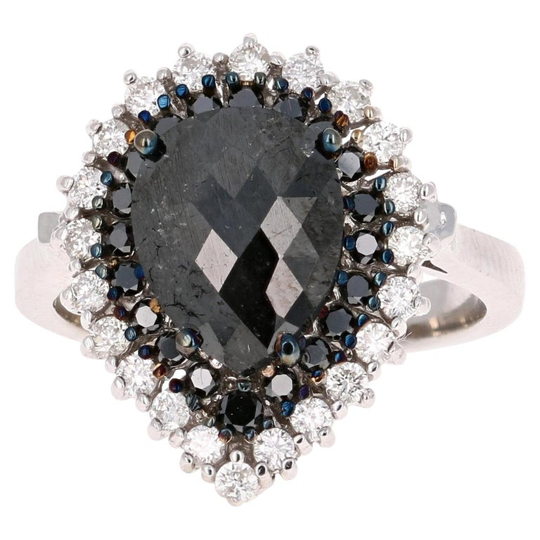 2.61 Carat Pear Cut Black Diamond White Gold Bridal Ring For Sale