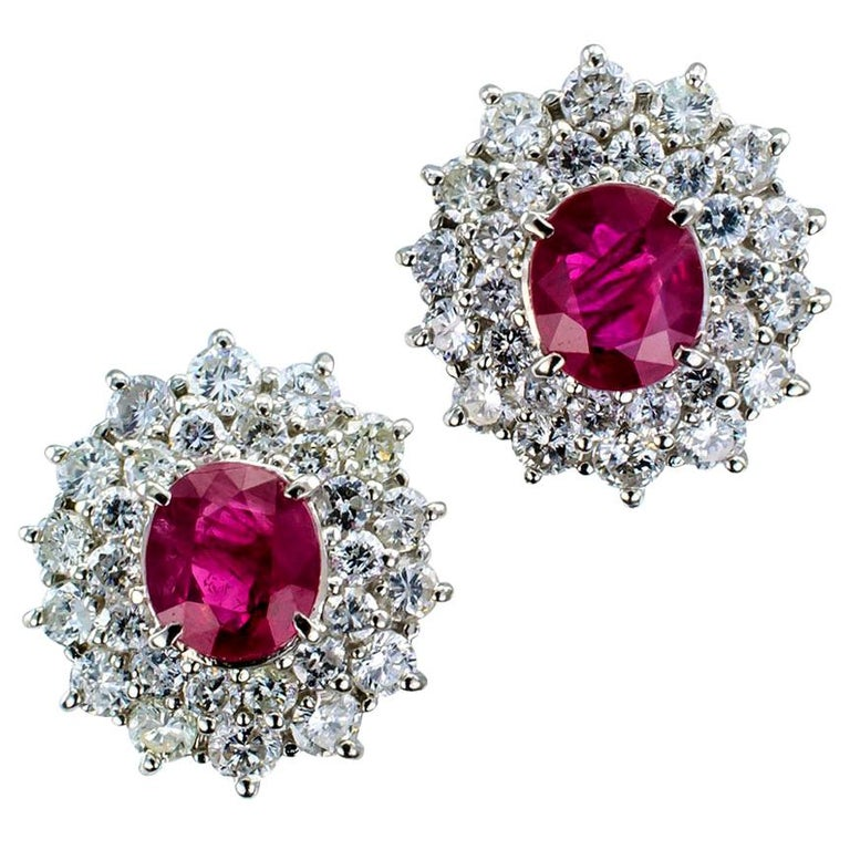Ruby Diamond Platinum Stud Earrings For Sale