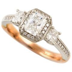 Kian Design Vintage Platinum and Rose Gold GIA Certified Diamond Ring