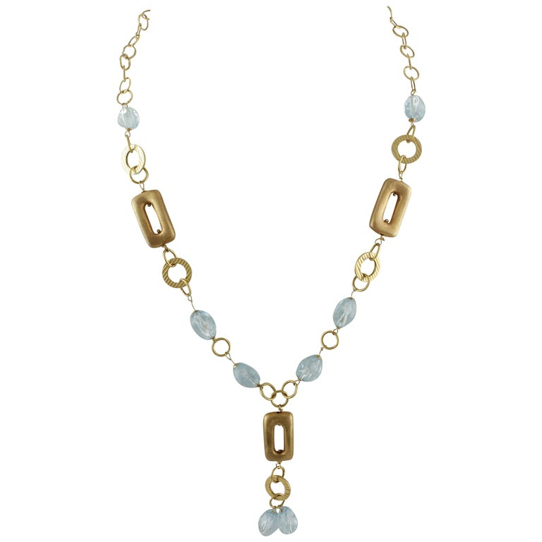 Aquamarine Yellow Gold Necklace
