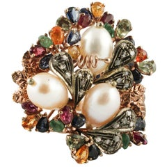 Diamonds Rubies Emeralds Multi-Color Sapphires, Pearls Rose Gold and Silver Ring