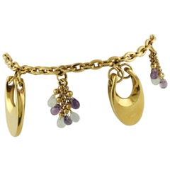 Amethysts Chalcedony Yellow Gold Charm Bracelet