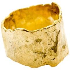 18k Gold Textured 15mm Wide Ring Handmade by Disa Allsopp