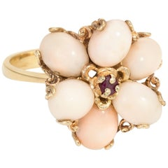 Angel Skin Coral Ruby Cocktail Ring Vintage 14 Karat Yellow Gold