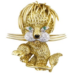 Diamond and Emerald Set Lion Brooch in 18 Carat Yellow Gold