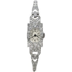 1920s Antique Art Deco 1.86 Carat Diamond and Platinum Ladies Cocktail Watch