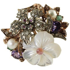Diamonds Rubies Emeralds Amethysts Pearls Mother-of-Pearl Silver Rose Gold Ring