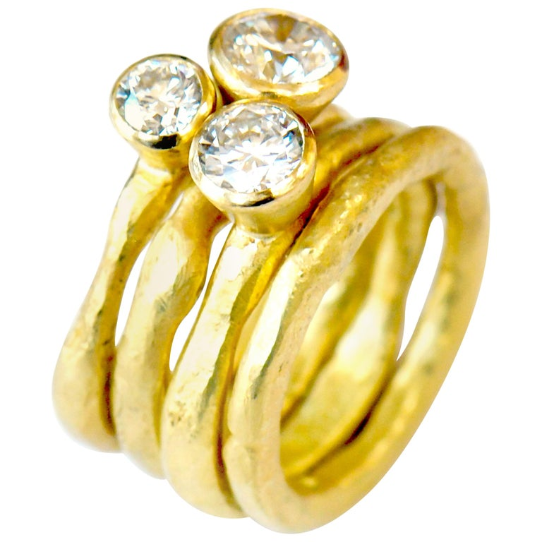 18k Gold GIA Certified Diamond Ring Stack Handmade by Disa Allsopp For Sale