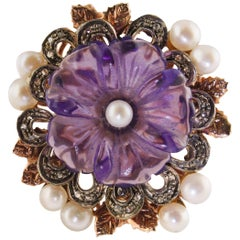 Diamonds Pearls Amethyst Rose Gold and Silver Ring
