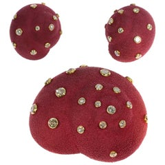 Christian Dior Burgundy Colored Suede 6.74ct Diamonds Brooch and Clip Earrings