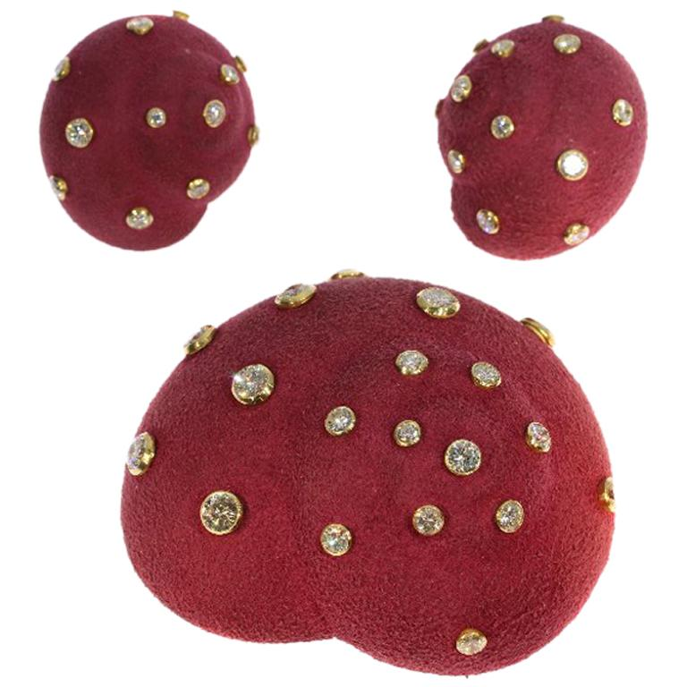Christian Dior Brooch and Clip Earrings Burgundy Colored Suede 6.74ct Diamonds