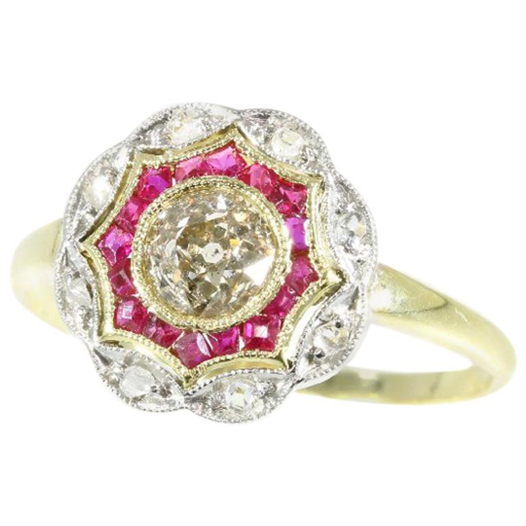 Art Deco Diamond and Ruby 18 Karat Yellow Gold Ring For Sale