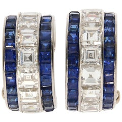 Oscar Heyman & Brothers Diamond and Sapphire Platinum Hoop Earrings, circa 1950