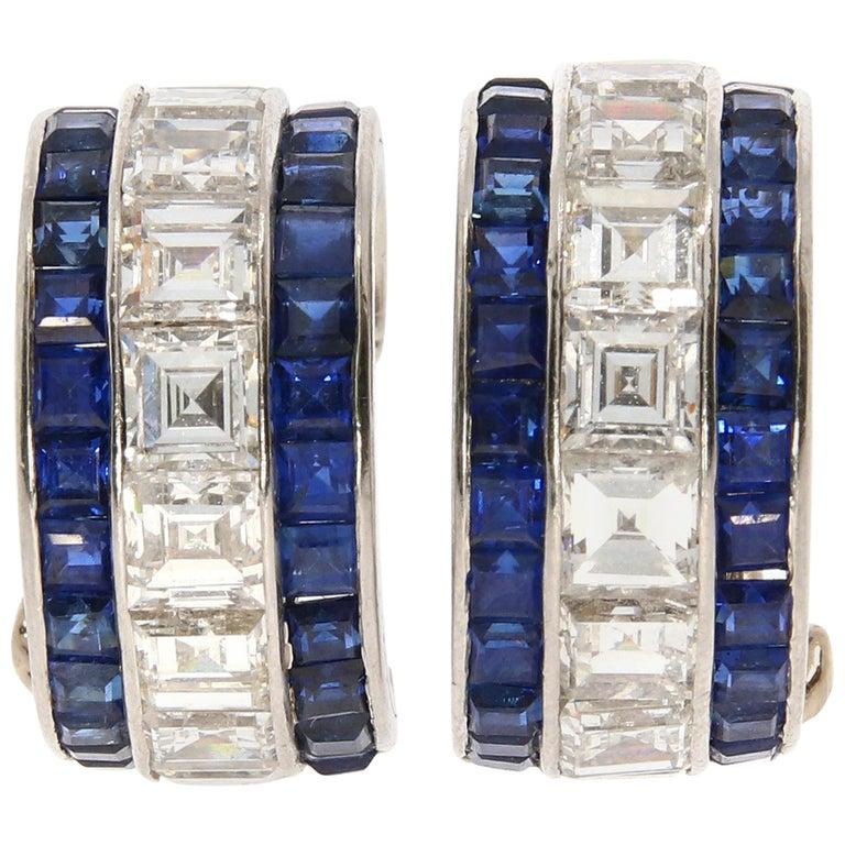 Oscar Heyman & Brothers Diamond and Sapphire Platinum Hoop Earrings, circa 1950