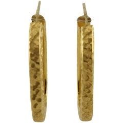 Worked Yellow Gold Hoop Earrings