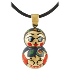 Matrioska Doll Yellow Gold Pendant Necklace