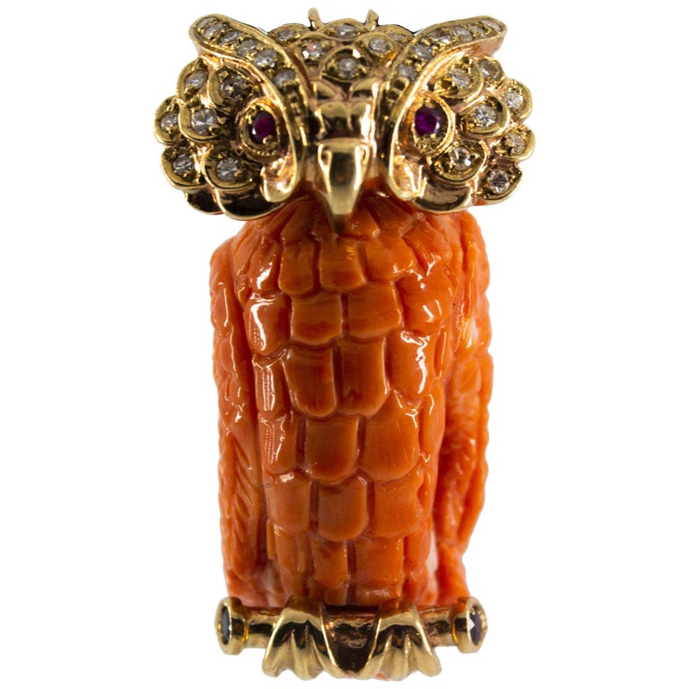 "Blue Sapphire Ruby Coral 0.70 Carat White Diamond Yellow Gold ""Owl"" Pendant"