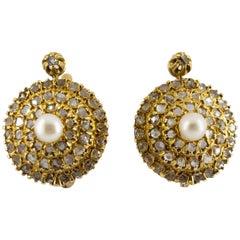 Renaissance Style 2.20 Carat White Diamond Pearl Yellow Gold Lever-Back Earrings