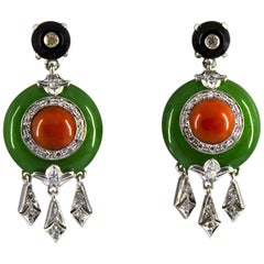 Mediterranean Red Coral Onyx Jade 0.38 Carat White Diamond White Gold Earrings