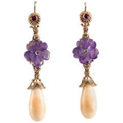 0.10 Carat Ruby Pink Coral Amethyst White Diamond Yellow Gold Drop Earrings