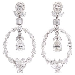 Pear Shape Diamond and White Gold Chandelier Earrings