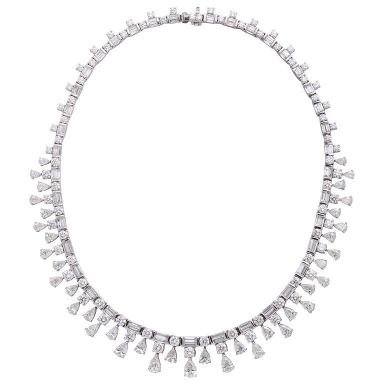 Platinum, Pear Shape, Baguette and Round Brilliant Cut Diamond Necklace