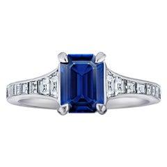 1.41 Carat Emerald Cut Blue Sapphire and Diamond Platinum Ring