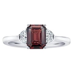2.08 Carat Emerald Cut Reddish Brown Sapphire and Diamond Platinum Ring