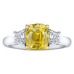 2.59 Carat Cushion Yellow Sapphire and Diamond Ring