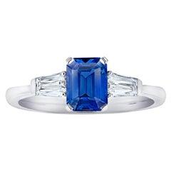 1.34 Carat Emerald Cut Blue Sapphire and Diamond Platinum Ring