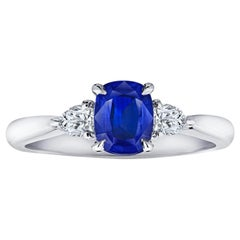 1.16 Carat Cushion Blue Sapphire and Diamond Platinum Ring