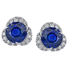 3.46 Carat Round Blue Sapphire and Diamond Halo Platinum Earrings