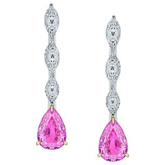 1.90 Carat Pear Shape Pink Sapphire and Diamond Earrings