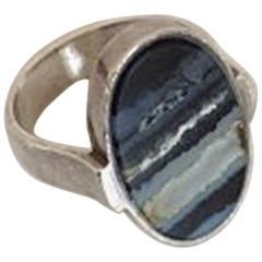 Georg Jensen Sterling Silver Harald Nielsen Ring No 189 with Agate
