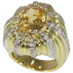 Certified Yellow Sapphire and Diamond French Cocktail Ring 18 Karat Yellow Gold