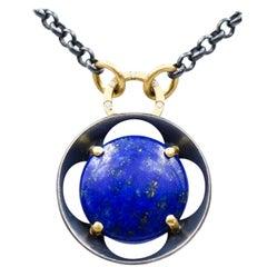 Robin Waynee Lapis, Sterling, 18 Karat Gold and Diamond Pendant