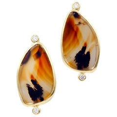 Robin Waynee 18 Karat Gold, Diamond and Agate Earrings