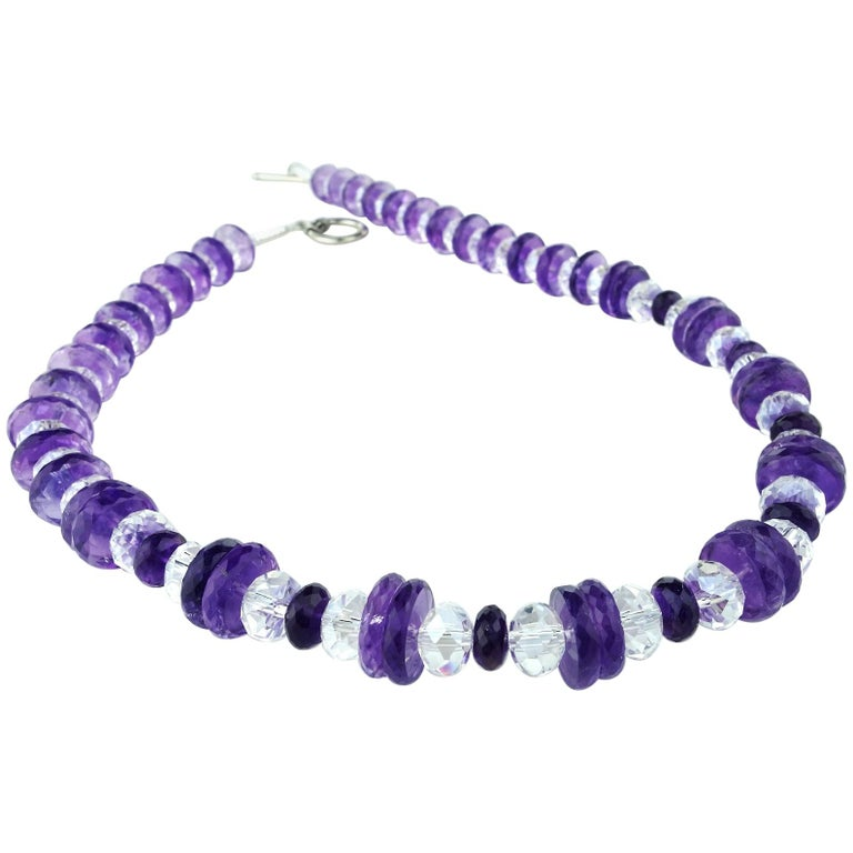 Flashing Amethyst and Crystal Necklace
