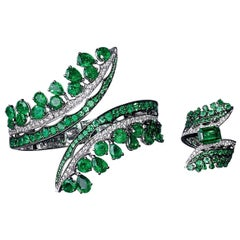 Gem Field Emeralds, White Gold, White Diamonds Cuff and Cocktail Ring Suite