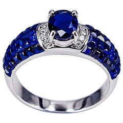 18K White gold invisible Oval Sapphire Ring