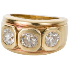 1.05 Carat Old European Cut Diamond Yellow Gold Dress Ring