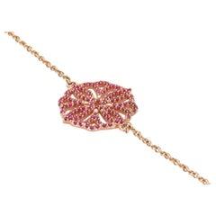 Ruby and 9 Karat Rose Gold Flower Chain Bracelet